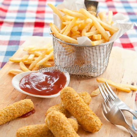 french fries and mozzarella sticks