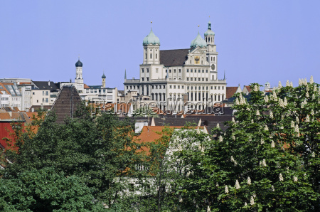 town hall above the roofs of