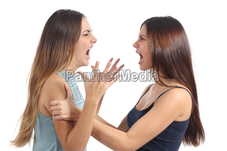 two aggressive women arguing and shouting
