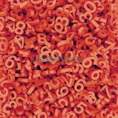 abstract red orange fallen numbers 3d