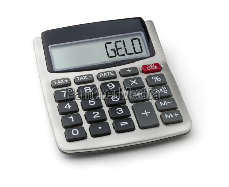 calculator with the word money in