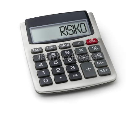 pocket calculator with the word risk