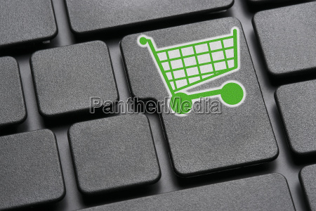 keyboard, green, shopping, cart - 13465806