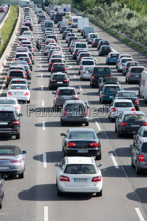 autostau on motorway in professional traffic