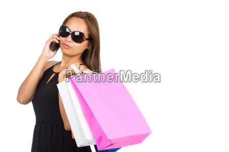 sunglasses, asian, woman, shopping, bags, phone - 13467078