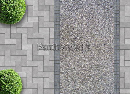 paving stones with gravel and box