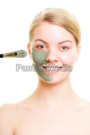 skin, care., woman, applying, clay, mud - 13474176