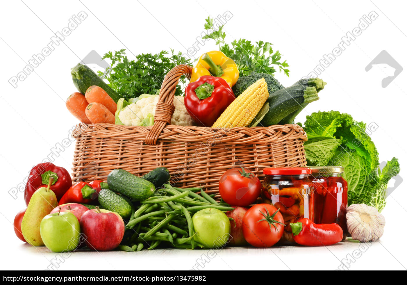 wicker, basket, with, groceries, isolated, on - 13475982
