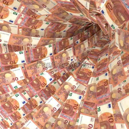 money vortex of 10 euro notes