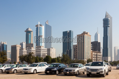cars in front of kuwait city