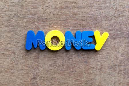 money word in wood background
