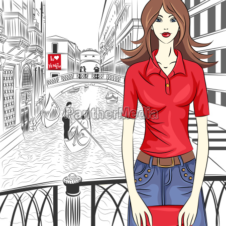 vector lovely fashion girl on a