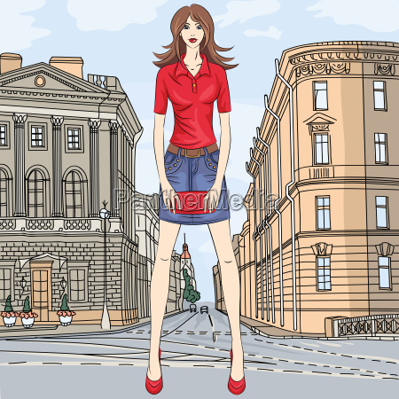 vector beautiful fashion girl top model