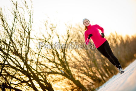 young, woman, running, outdoors, on, a - 13484672