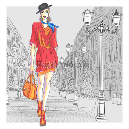 vector attractive fashion girl goes for