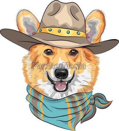 vector hipster dog pembroke welsh corgi