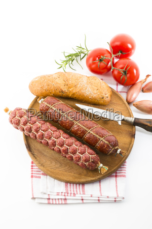 brettljause, -, butcher's, alami, farmer's, salami, tomatoes, chiabatta - 13485214