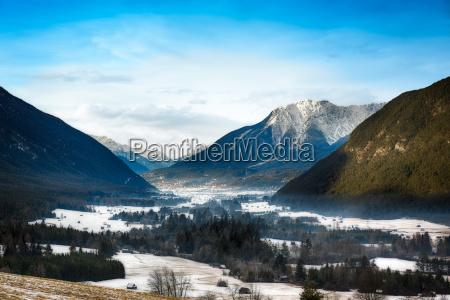 mountain valley in tirol alps austria
