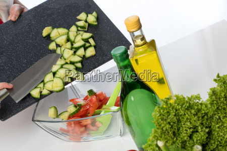 salad cucumber mince for mixed salad