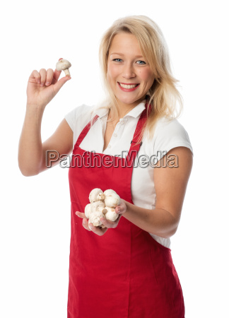 housewife, in, apron, holding, a, handful - 13486840