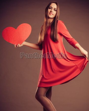 valentines day woman holding heart