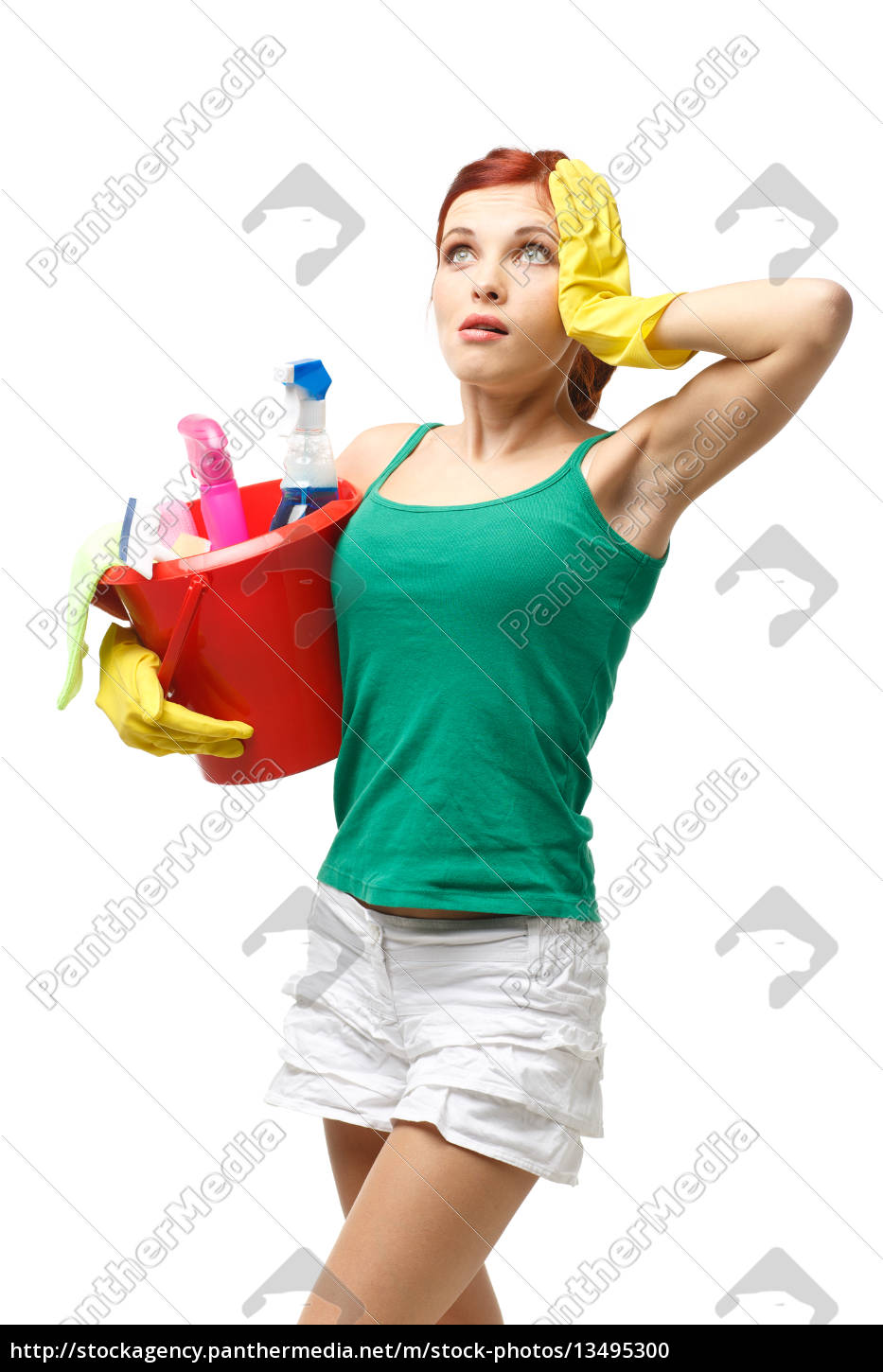 young, cleaning, woman. - 13495300