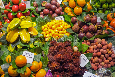 exotic fruit in the boqueria in