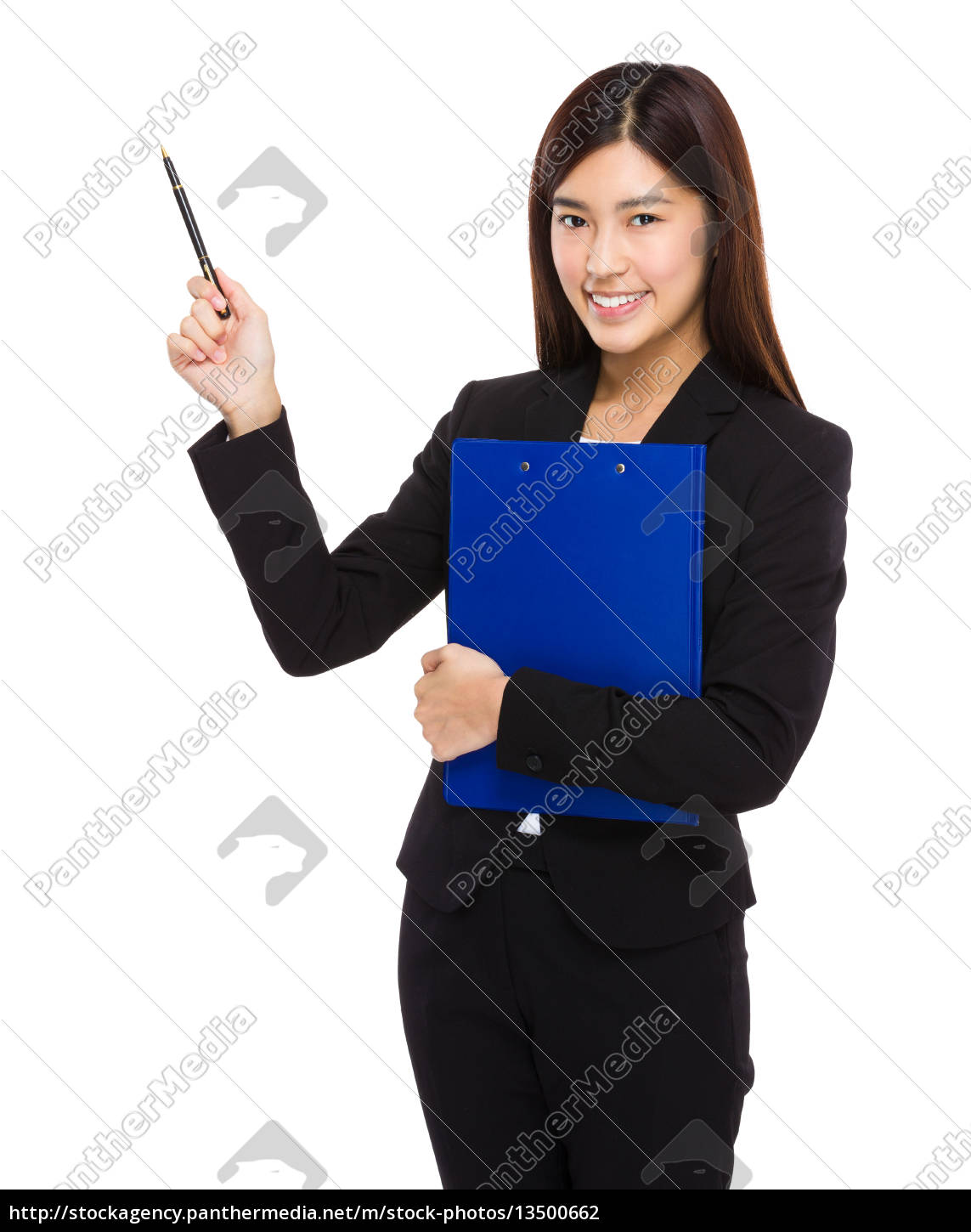 businesswoman, with, clipboard, and, pen, up - 13500662