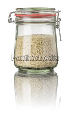 basmati rice in a mason jar