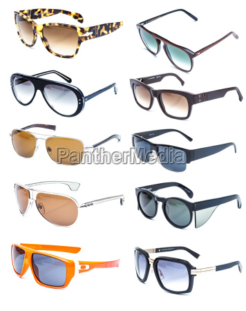 collection of colorful sunglasses on white