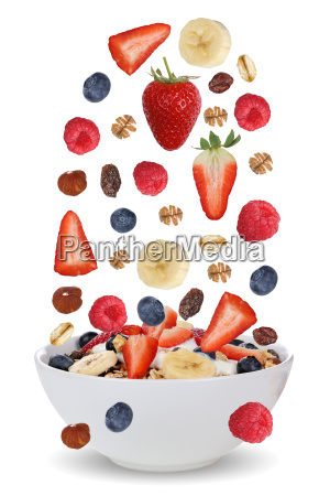 flying ingredients for fruit muesli with