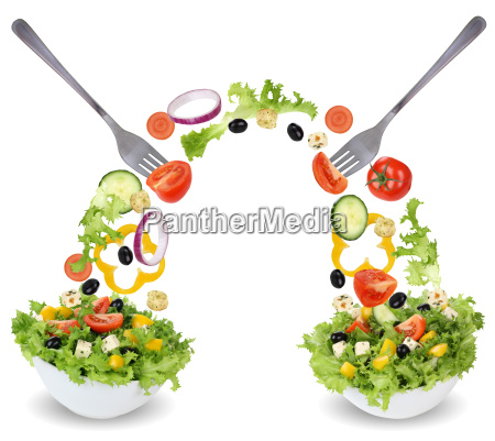 salad in bowl with tomato cucumber