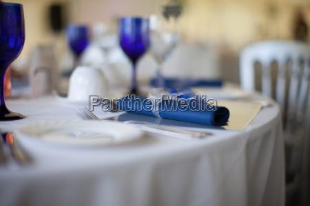 blue serviette detail on a wedding