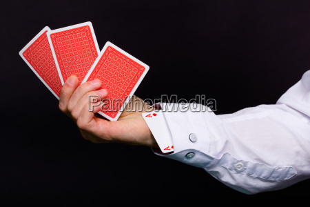 man's, hand, holding, three, cards, and - 13514892