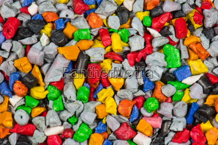 colorful grist of plastic articles