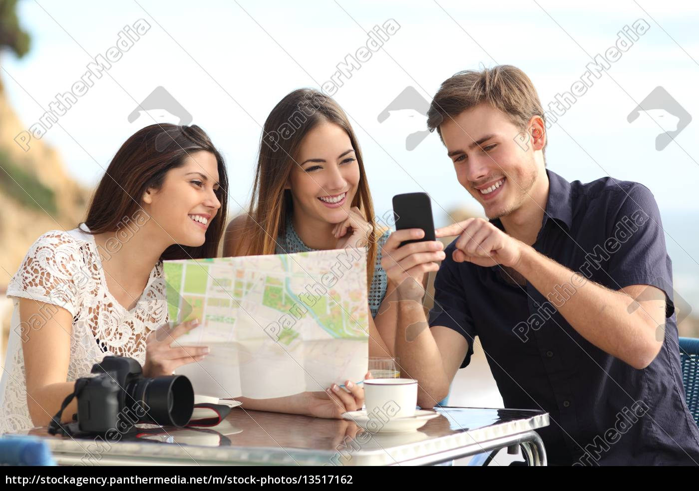 group, of, young, tourist, friends, consulting - 13517162