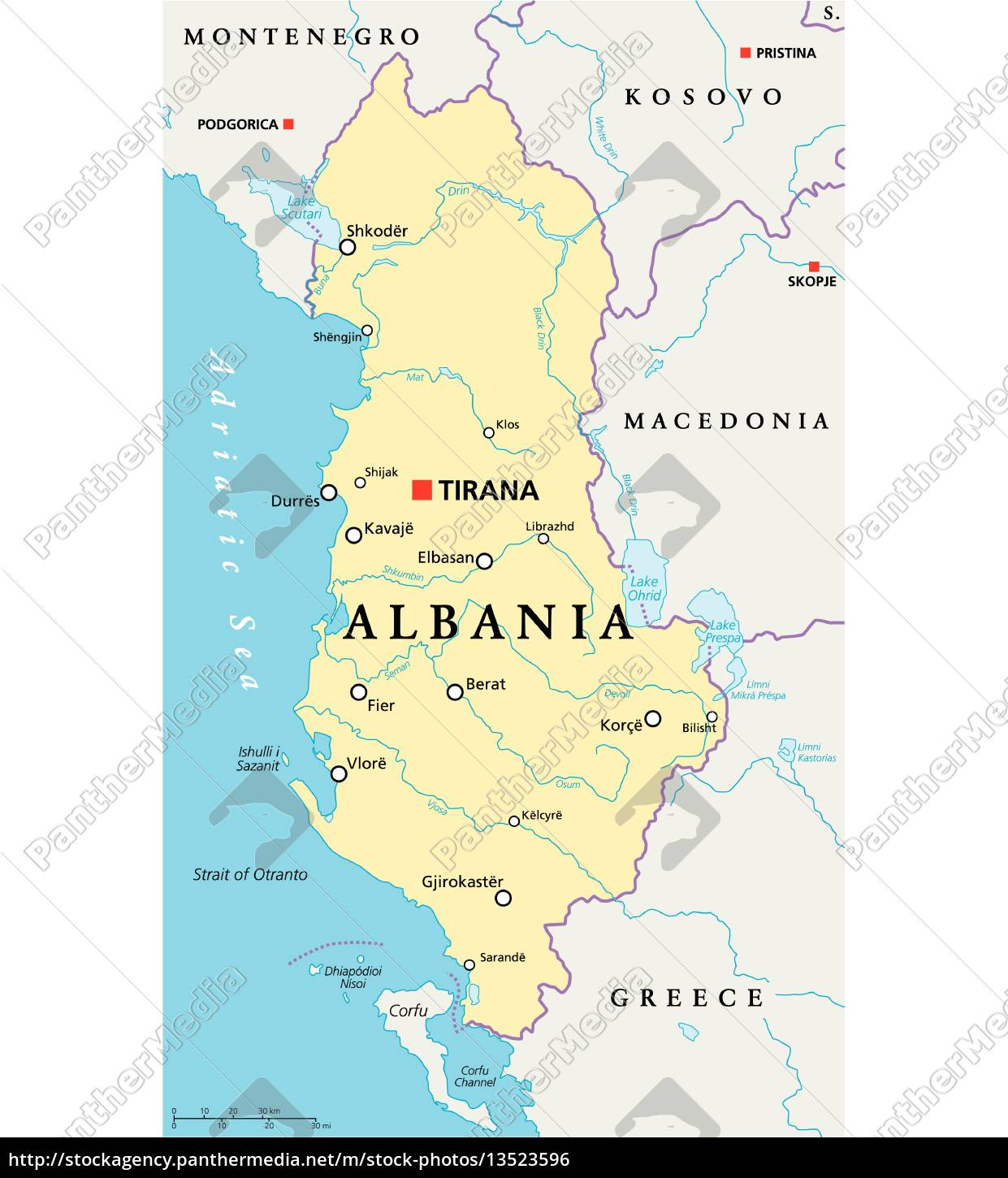 Albania Political Map Royalty Free Photo 13523596