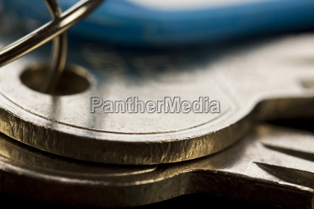 key keyring with trailers as closeup