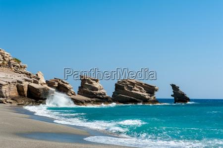 bay triopetra in crete greece