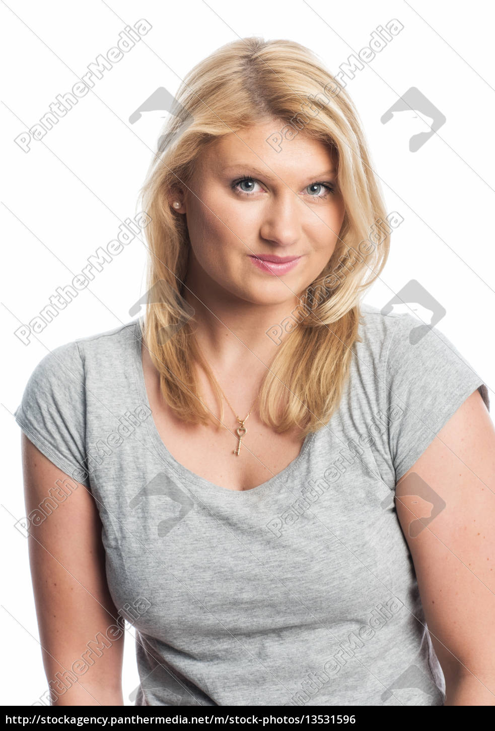 blonde, woman, in, t-shirt - 13531596