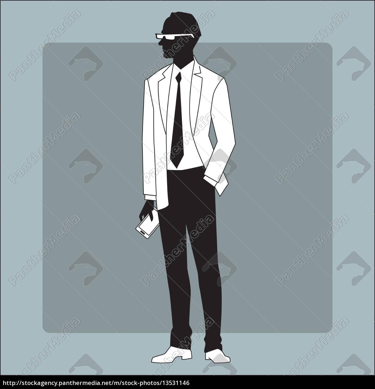 modern, businessman, with, a, gadget, in - 13531146