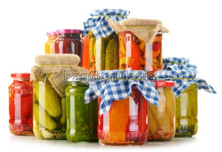 composition with jars of pickled vegetables