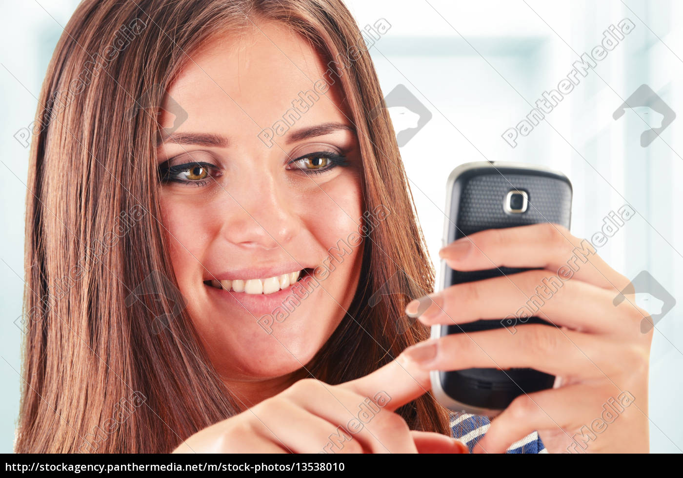 young, woman, using, smartphone, isolated, on - 13538010
