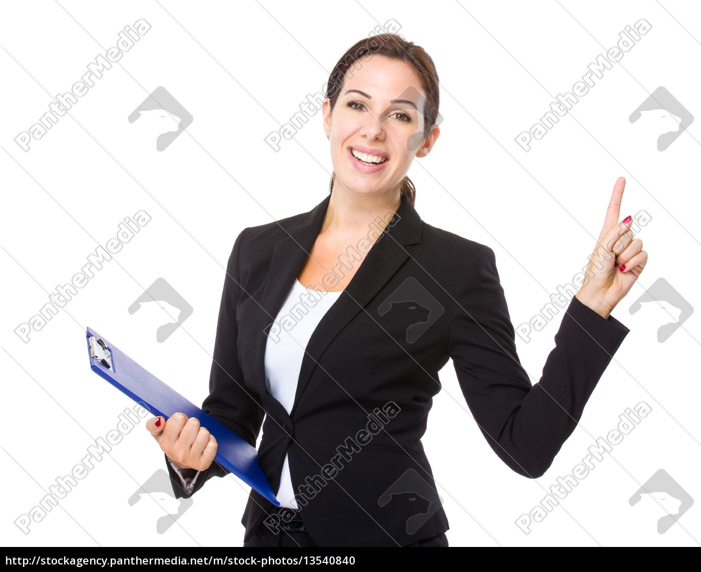 businesswoman, with, clipboard, and, finger, point - 13540840