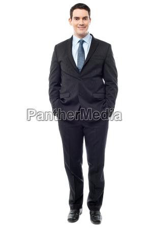 confident, businessman, posing, over, white - 13542118