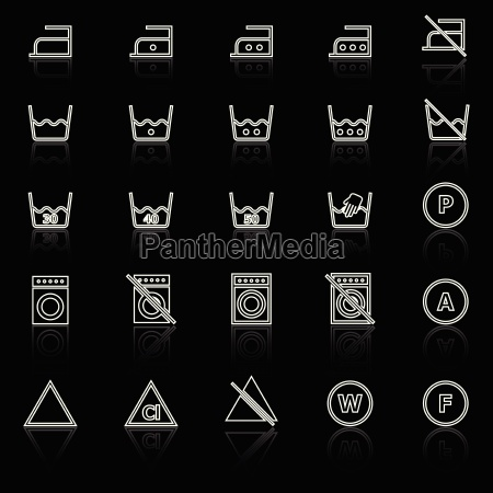 laundry line icons with reflect on