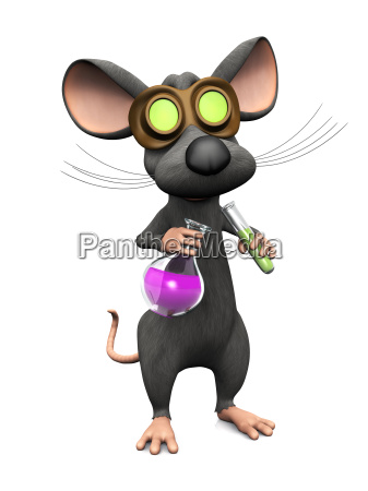 mad cartoon mouse doing a science