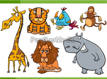 animals cartoon characters set