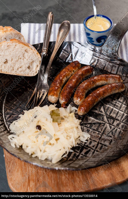 sausages, with, sauerkraut, in, a, pan - 13550014