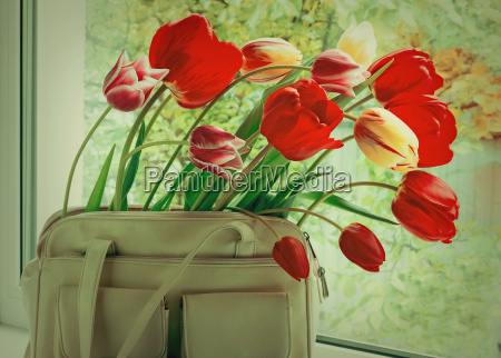 flowers tulips and a women bag